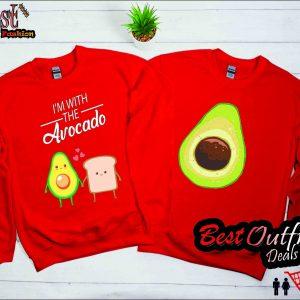 I'm with the Avocado Toast Lover Cute Couple Halloween Sweatshirt