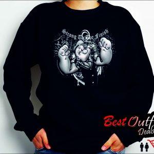 Popeye Strong to the Finish Black Sweatshirts