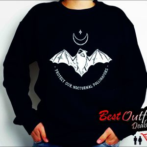 Protect Our Nocturnal Polalinators Bat with Moon Halloween Sweatshirt