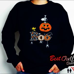 halloween snoopy woodstock boo black sweatshirt
