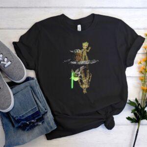 Baby Yoda and Baby Groot Water Reflection Men Women Graphic T Shirt